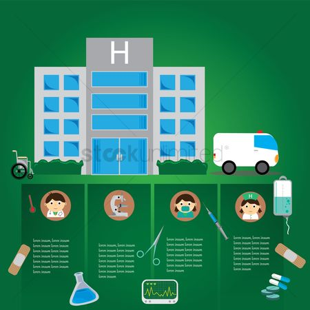 Wheelchair : Infographic of a hospital