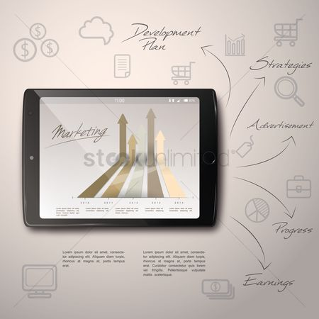 Trolley : Infographic of business plan on tablet