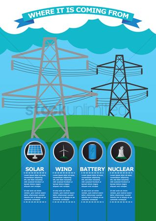 Nuclear : Infographic of electric tower