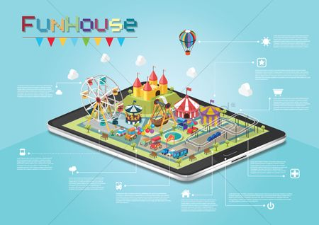Food cart : Infographic of funhouse on smartphone