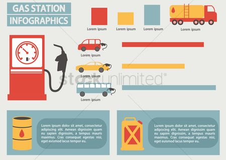Gases : Infographic of gas station