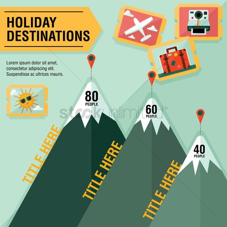 Place : Infographic of holiday destinations