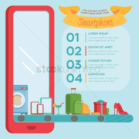 Washing machine : Infographic of shopping on smartphone