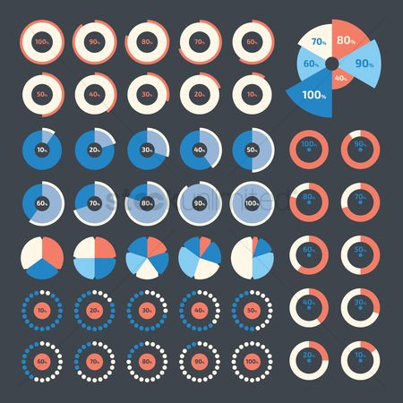 Reports : Infographic pie chart collection