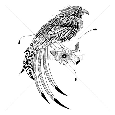 Linear : Intricate bird design