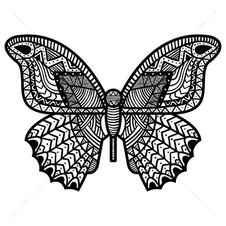 Hand drawn : Intricate butterfly design