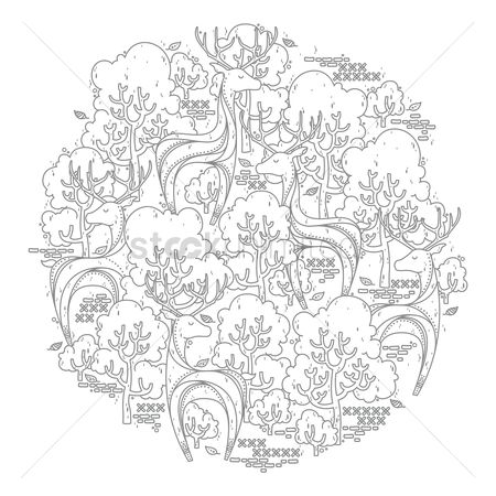Colorings : Intricate forest design