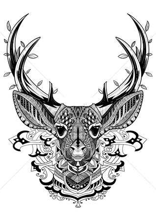 Sketching : Intricate reindeer design