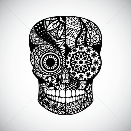 Linear : Intricate skull design
