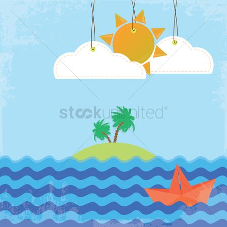 Ocean : Island on a sunny day background