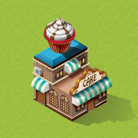 Awning : Isometric bakery shop