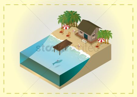 Umbrella : Isometric beach
