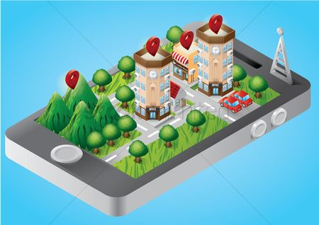 Office  building : Isometric buildings on smartphone