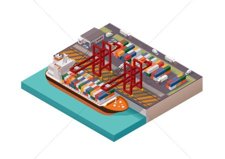Ocean : Isometric cargo port
