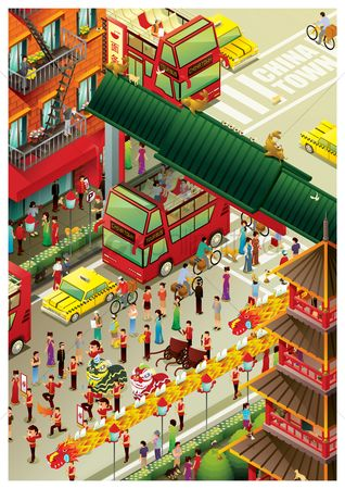 Taxis : Isometric china town