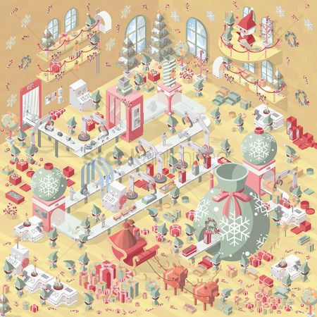 Machineries : Isometric christmas landscape