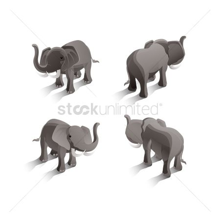 Backview : Isometric elephants