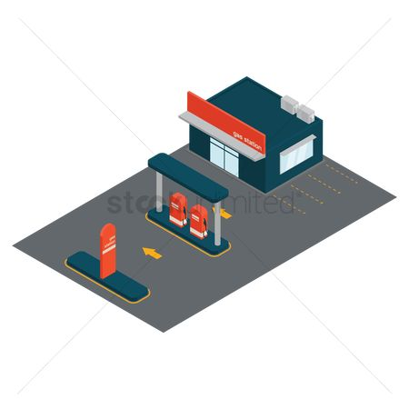 Fuel : Isometric gas station