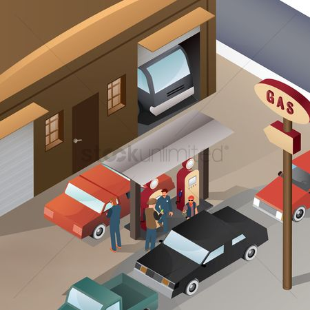 Petroleum : Isometric gas station