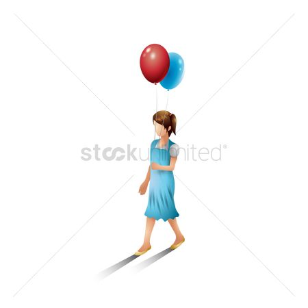 Posing : Isometric girl with balloons