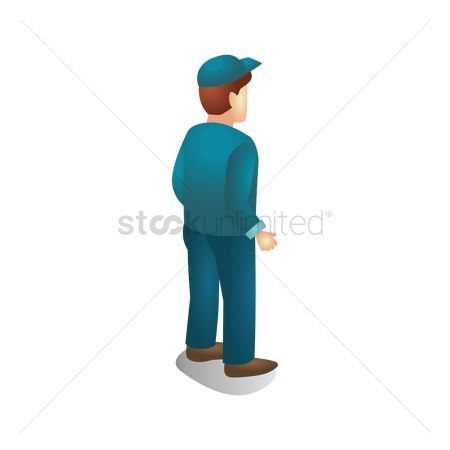 Backview : Isometric man standing