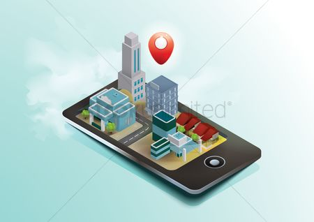 Map pin : Isometric mobile with location