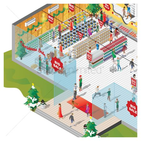 Plates : Isometric of a shopping mall