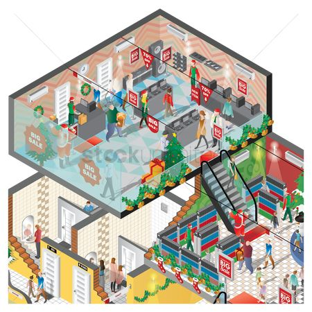 Santa : Isometric of a shopping mall