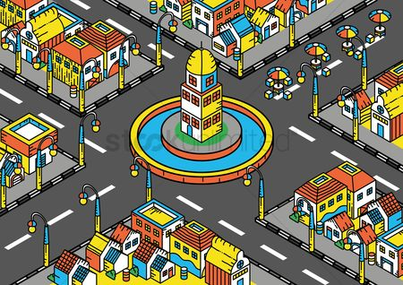 Building : Isometric of buildings in a town