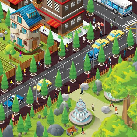 Lady : Isometric of city life