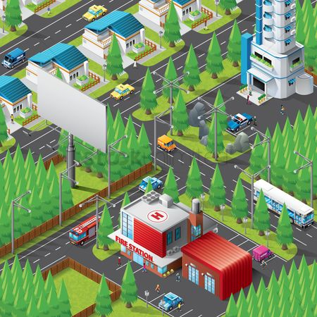 Taxis : Isometric of city life