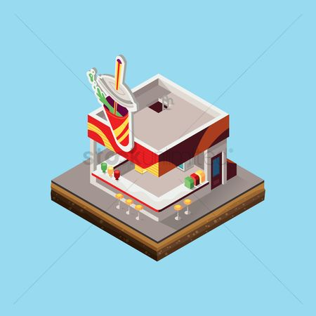 Store : Isometric of soft drink shop store