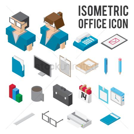 Coffee cups : Isometric office icons collections
