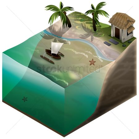 Real estate : Isometric representation of beach and water