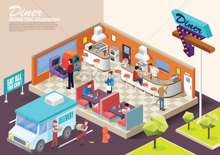 Workers : Isometric restaurant