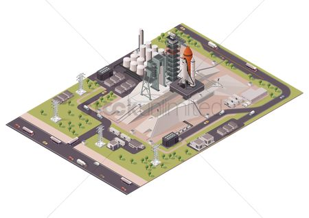 Buildings : Isometric rocket launch station