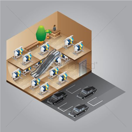 Automobile : Isometric shopping mall