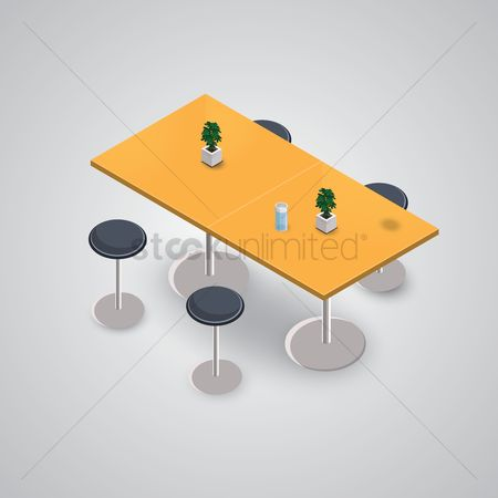 Supply : Isometric table with chairs