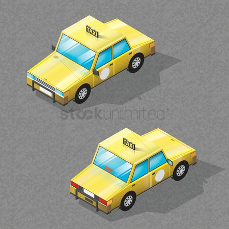 Taxis : Isometric taxi car