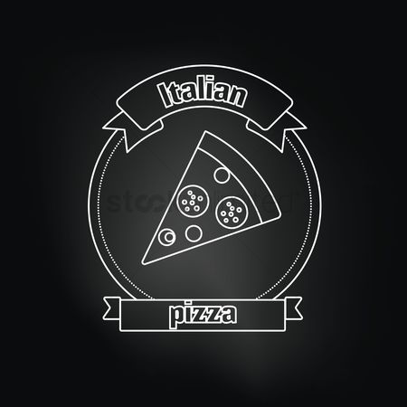 Italian foods : Italian pizza over black background