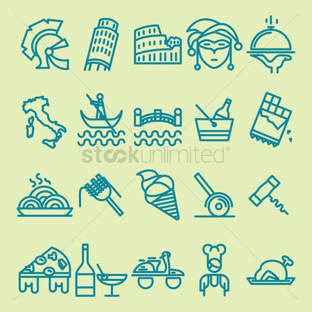 Paddle : Italy general icons