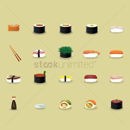 Japanese cuisines : Japanese cuisine icons set
