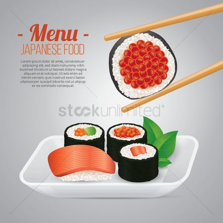 Plates : Japanese food menu poster