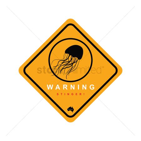 Beware : Jellyfish zone warning sign