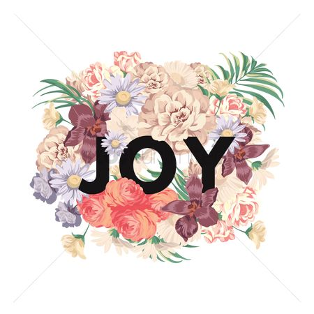 Retro : Joy text with floral design