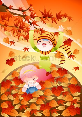 Play kids : Kids playing in autumn season