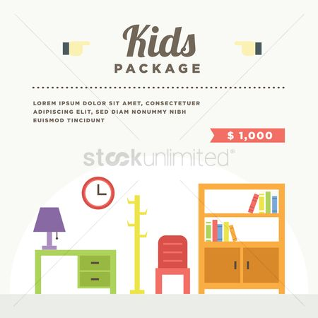 Racks : Kids room interior with furniture
