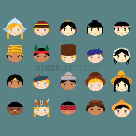 Beret : Kids with traditional hats