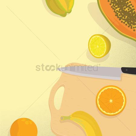 Starfruit : Kitchen knife with cutting board and fruits