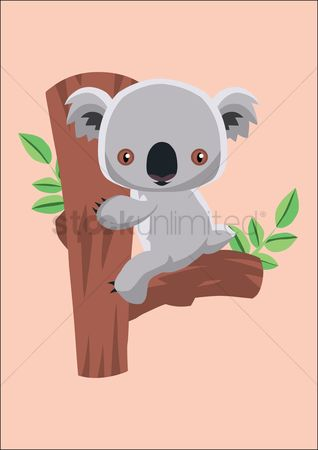 Bear : Koala bear sitting on a tree trunk